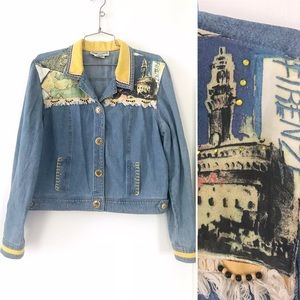 Vintage 1990's embellished denim jean jacket